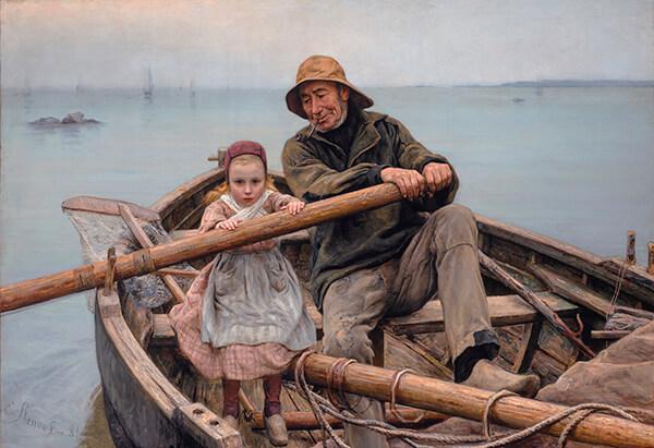 peinture emile renouf bateau barque pêcheur enfant