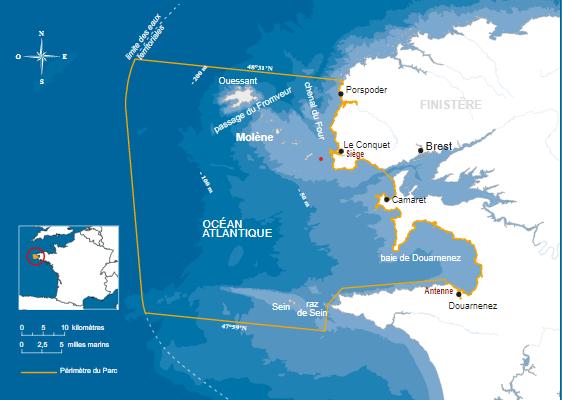 Carte du Parc naturel Marin d'Iroise